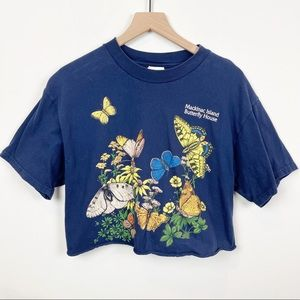 Vintage 90's Cropped Butterfly Graphic T Shirt